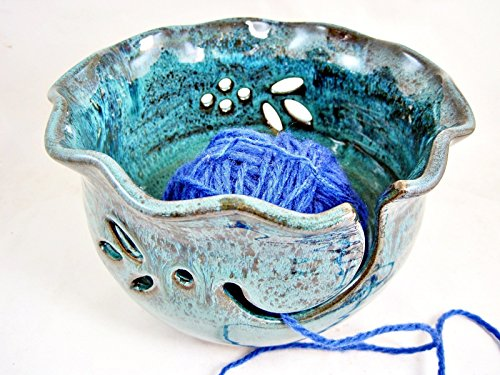 Teal blue Pottery Yarn Bowl For Knitting ()