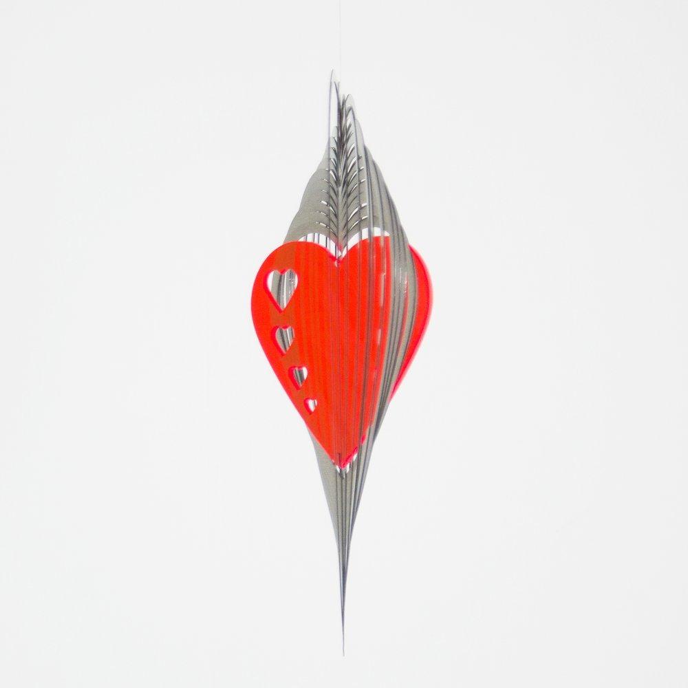 Edelstahl Windspiel - Sun Dancer Mix HERZEN - einzigartiger Materialmix, lichtreflektierend - Abmessung: 29x29cm - inkl. Haken und Kugellagerwirbel Colours in Motion
