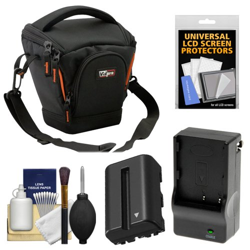 (Vidpro TL-25 Top-Load DSLR Camera Holster Case (Small) with NP-FM500H Battery & Charger + Accessory Kit for Sony Alpha DSLR SLT-A57, A65, A77, A99)