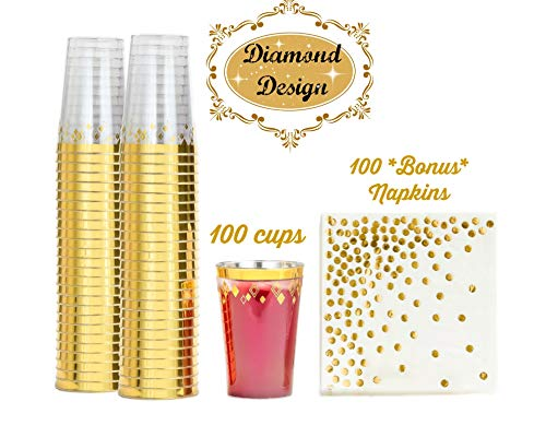 12oz Gold Rimmed Plastic Cups & Napkins, 100|Fancy Plastic Cups|Gold Rim Plastic Cups Tumblers|Gold Plastic Cups|Elegant Party Cups Gold Trim|Disposable Wedding Cups Gold Trimmed