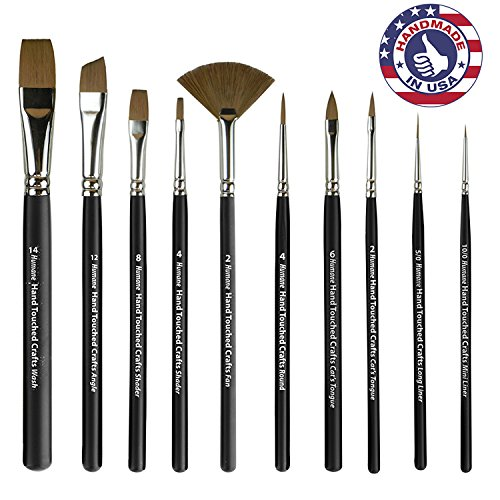 Synthetic Sable Artist Paint Brush Set: Paintbrushes for Wat
