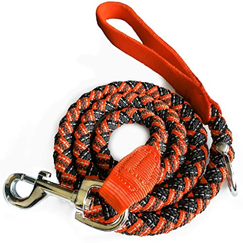 Beagle Leash - Maypaw Reflective Small Dog Leash, 6-Ft Heavy Duty Non Slip Nylon Rope Puppy Leash for Outside Pet Training and Walking (Orange, 3/8