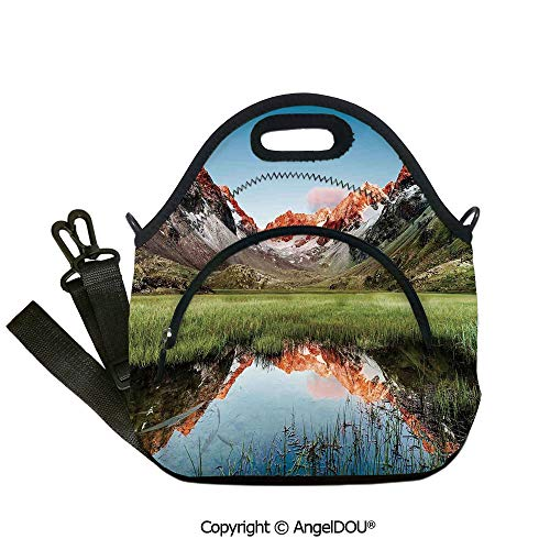 AngelDOU Cottage Decor portable thickening insulation tape Lunch bag Snowy Peaks Mirroring in a Lake Surrounded by Meadow Below Stubai Alps Austria Outdoor Travel Picnic Beach Pa12.6x12.6x6.3(inch) -