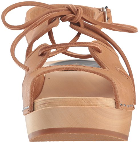 Swedish Hasbeens Damen Lace Up Sandal Clogs Brown (Nature)