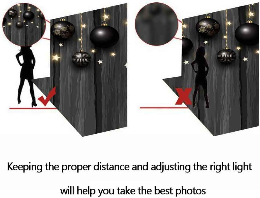 FHZON 10x7ft Holiday Decoration Photography Backdrops Black Ball Stars Wooden Wall Background Themed Party Wallpaper YouTube Backdrop Photo Booth Props LXFH1075