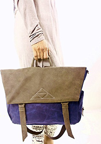 Blue Beeswax Waterproof Canvas and Brown Leather Large Messenger Backpack, Unique Laptop Messenger Bag by Ruth Kraus