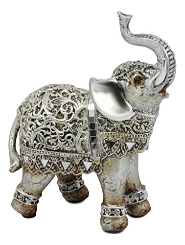 Ebros Silver Filigree Elephant Statue with Glass Mirrors 6