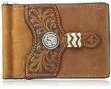 Ariat Men's Distressed Circle Concho Interior Money Clip Wallet, Brown