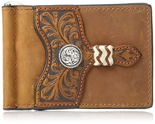 Ariat Men's Distressed Circle Concho Interior Money Clip Wallet, - Concho Clip
