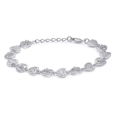eb6a3a611 Taraash Sterling Silver White Cz Heart Shape Bracelet for Women/Girls  BR1670R: Amazon.in: Jewellery
