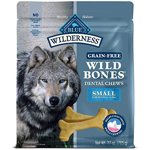 (Blue Buffalo Wilderness Wild Bones Small Dental Chews Grain-Free Dog Treats, 27-Oz Bag)