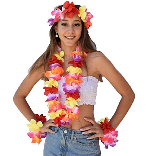 ISLAND STYLE CLOTHING Multi Lei SET Floral Necklace Hawaiian Fancy Dress Costume -
