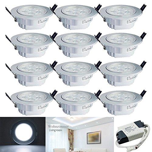 Hengda® 12 Stücke 7W LED Einbauleuchte 560 Lumen 6500K Kaltweiß Deckenspots Dimmbar Einbauspot für den Wohnbereich Einbauleuchten set