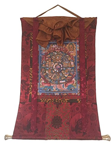 HANDS OF TIBET ANTIQUED HAND PAINTED WHEEL OF LIFE THANGKA PAINTING WITH SILK BROCADE ()