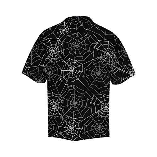 InterestPrint Shirt Short Sleeve Button Up Black and White Spider Web Shirt V-Neck Beach Top for Men XXL (Black Button Spider)