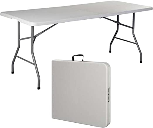 1, White 1, White White 2 Table 6 Inches 6 Folding Table Portable Plastic Indoor Outdoor Picnic Party Dining Camp Tables