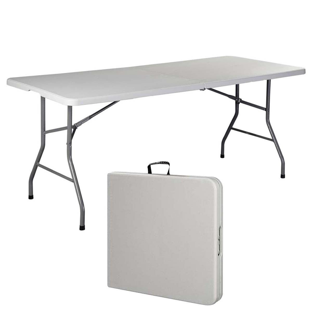 6' Folding Table Portable Plastic Indoor Outdoor Picnic Party Dining Camp Tables (White) by 6' Folding