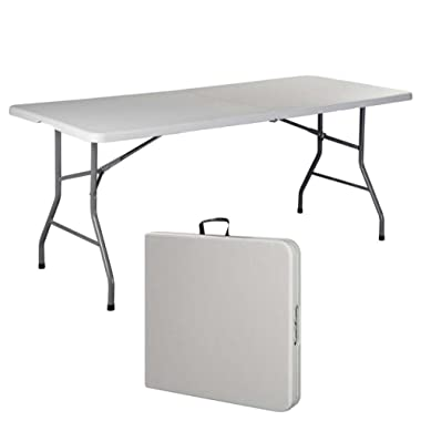 6' Folding Table Portable Plastic Indoor Outdoor Picnic Party Dining Camp Tables (White)