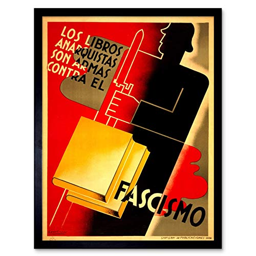 (Wee Blue Coo Propaganda War Spanish Civil Book Reading Anti Fascist Republican Art Print Framed Poster Wall Decor 12x16 inch)