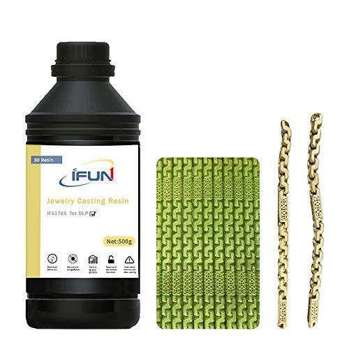 IFUN 3D Resin Jewelry Casting for 405nm DLP 3D Printer JewelCast Lost Wax Cast SLA UV Cure Photosensitive Liquid Green…