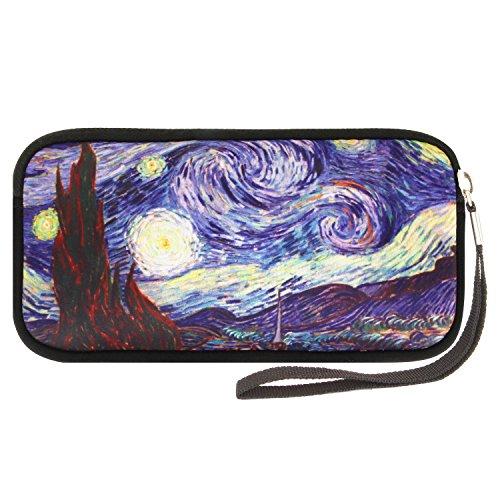 Neoprene Coin Purse Pouch Waterproof Pencil Bag Wallets for Women Girls(Starry Moon ()