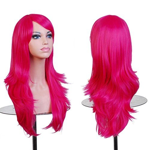 BERON Long Wavy Curly Wig High Standard Silk Female Cosplay Wig with Wig Cap (27'' Rose Red)]()