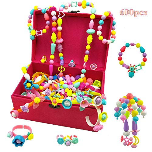 Leint Pop Beads Set-Arts and Crafts Toys Jewelry Making Kit 600+pcs for 4,5,6,7 Year Old Girls Creativity DIY Birthday for Kids Age 4-12 with Headband, Necklace, Earrings & Bracelets
