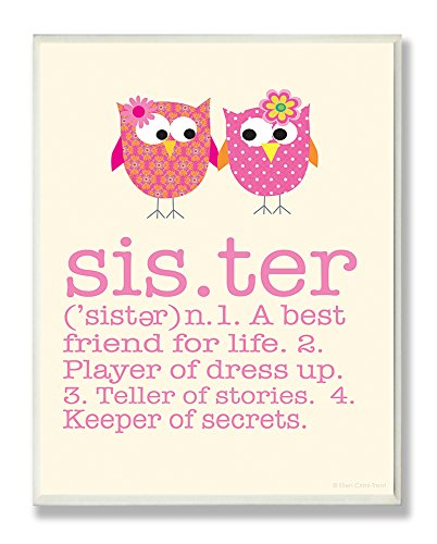 Stupell Home Décor Definition Of Sister With Pink Owls Rectangle