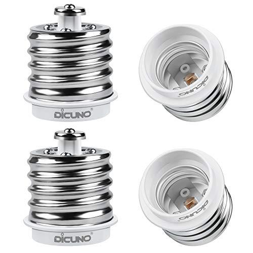 DiCUNO E39 to E26 Adapter, Mogul E39 to Medium E26 Screw Base Light Bulb Socket Reducer Converter, Maximum 200W and 165? Heat Resistant 4Pcs