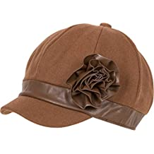 Sakkas Wool Blend Newsboy Cap with Faux Leather Flower Accent