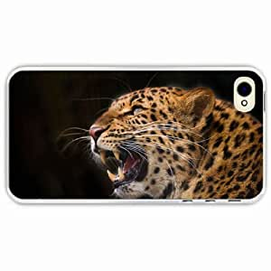 iPhone 4 4S Black Hardshell Case leopard predator jaws teeth fangs background Transparent Desin Images Protector Back Cover