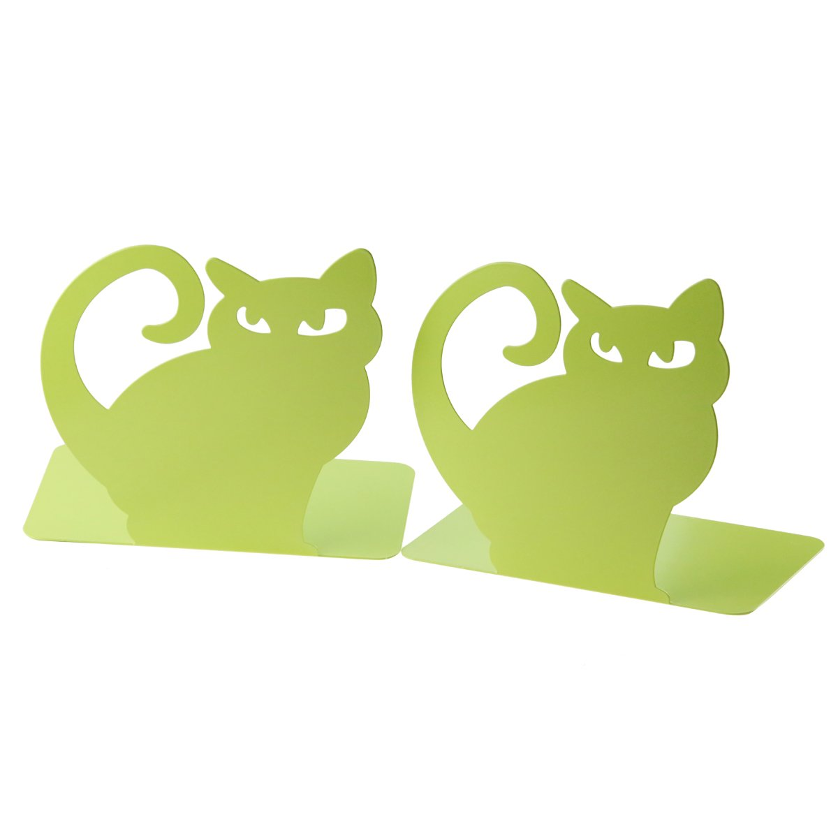 Cute Vivid Lovely Persian Cat Book Organizer Metal Bookends For Kids School Library Desk Study Home Office Decoration Gift (Green)