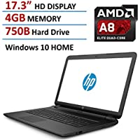 HP 17-P120WM AMD A8-7050 X2 1.8GHz 4GB 750GB DVD+/-RW 17.3 Win10, Black ()