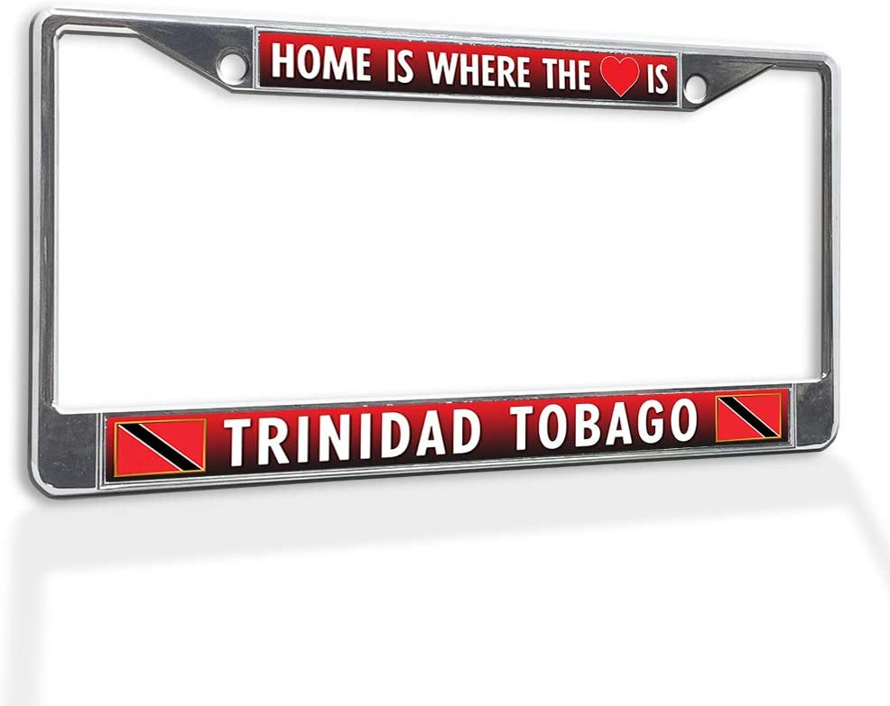 Fastasticdeals Metal Insert License Plate Frame Home is Where The (Heart) Trinidad Tobago Weatherproof Car Accessories Chrome 2 Holes Solid Insert