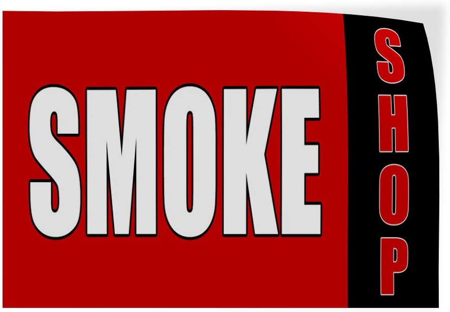 Set of 5 Decal Sticker Multiple Sizes Smoke Shop red Black Business Smoke Outdoor Store Sign Red 27inx18in