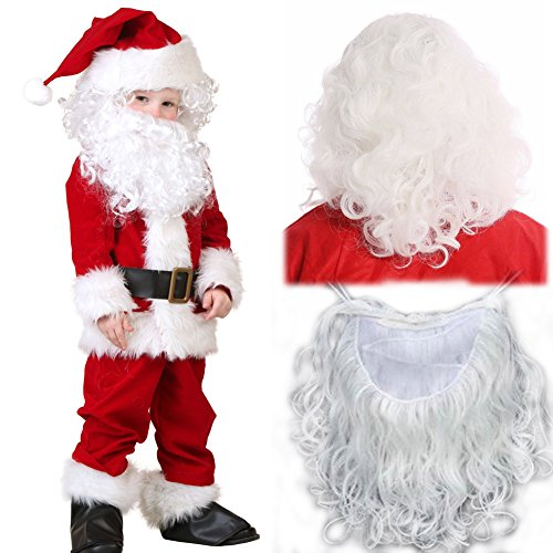 Christmas Santa Wig and Beard Set Only Deluxe White Long Curly Wigs Adult Role Play Claus Costume Accessory 240g