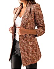 Tweed Blazer Jackets for Women Double Breasted Suit Slim Fit Lapel Jackets Business Casual Cardigans Fashion Blazers
