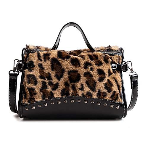 QTMY Leopard Print Shoulder Bag Tote Crossbody Bag Purse Handbag for Women,Black