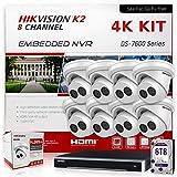 Hikvision IP Camera System 4K Bundle (NVR 6TB HDD + 8 Cameras) DS-7608NI-K2/8P Hikvision NVR 8 Channel PoE & DS-2CD2383G0-I 2.8mm 8MP Hikvision IP Surveillance Cameras Kit (9 Items) International