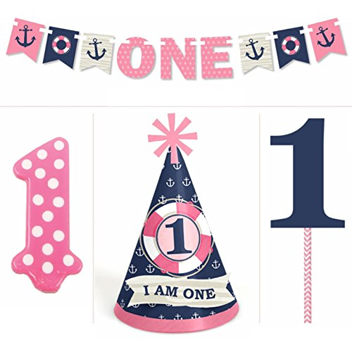 Ahoy Nautical Girl - 1st Birthday Girl Smash Cake Kit - High Chair (Nautical First Birthday Supplies)