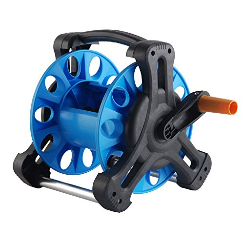 (Pannow Garden Hose Reel, Portable Water Hose Reel Cart with Bracket Holder Floor Mounted Car Hose Reel)