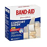 Band-Aid Brand Adhesive Bandages, Sheer Strips, Assorted, 80 Count (Packaging May Vary) (Pack of 6)