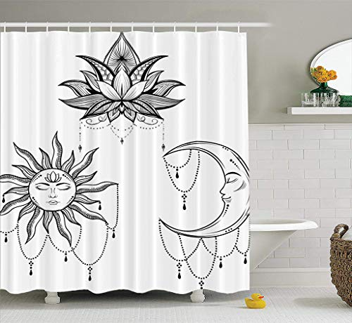 (Bathroom Shower Curtain Beautiful Sun Face Symbol Tattoo Mandala Day Work Light Love Man Medieval Waterproof and Mildew Resistant Fabric Shower Curtain Sets with 12 Hooks-78 x 72 inches )