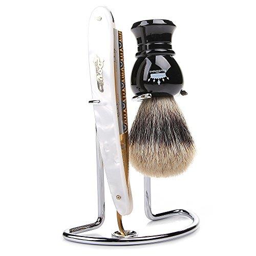 dovo pearlex full hollow 5 8 straight razor shaving set complete shave kit for men my. Black Bedroom Furniture Sets. Home Design Ideas