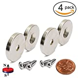 "VTURE Neodymium Disc Magnets 1.26""D x 0.2""H, Pack of 4. Strong, Permanent, Rare Earth Magnets. Matching Screws - 45 LB and Up to 70 LB Holding Power"