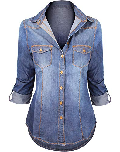 Women's Button Down Roll up Sleeve Classic Denim Shirt Tops