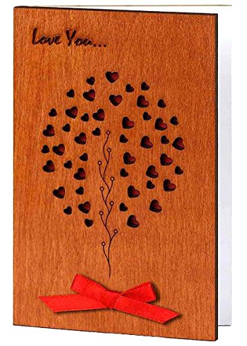 Handmade Sustainable Real Wood Card Love Family Tree Unique Happy Holidays Valentine Anniversary Wedding Birthday Wooden Present or New Baby Congratulations Greeting Card