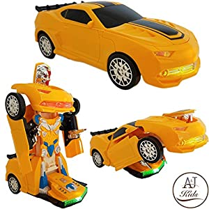 ANJ Kids Toys - Battery Operated Bump and Go Transformers Toys for Kids -Auto Transforming Autobots Action Figure and Toy Vehicles - Realistic Engine Sounds & Beautiful Flash Lights(Yellow Racing Car)