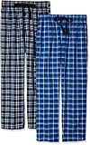 Fruit of the Loom Men's 2-Pack Woven Pajama Pant Set, Black/Navy, Large