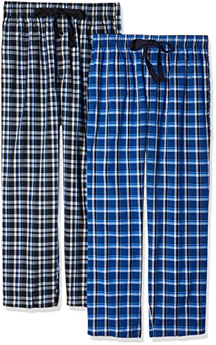 Fruit of the Loom Men's 2-Pack Woven Pajama Pant Set, Black/Navy, Medium (Men Pajama Pants Tall)